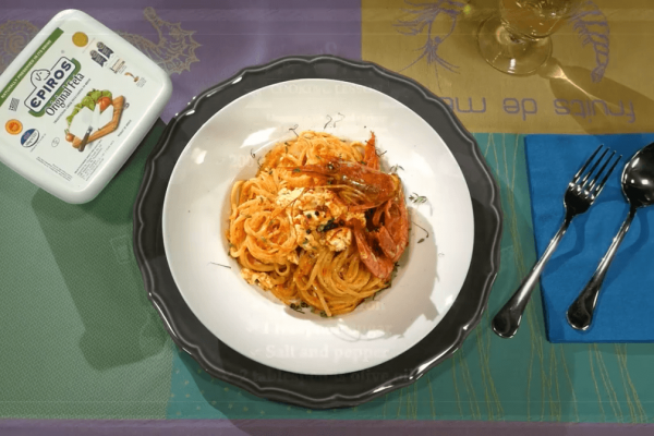 Linguini with grilled shrimp and tomato-Epiros feta sauce