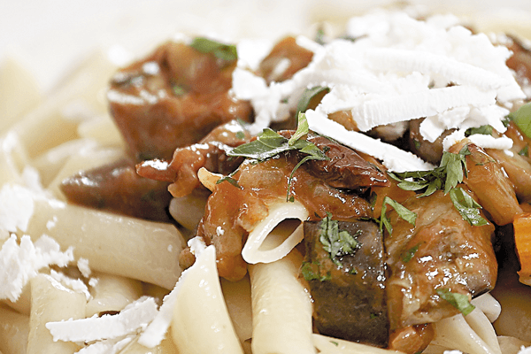 Penne with Aubergines and Epiros Goat Cheese