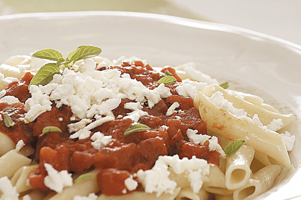 Penne with Fresh Tomato and Epiros Feta Cheese