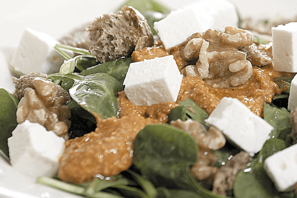 Salad with Spinach and Epiros Feta Goat Cheese