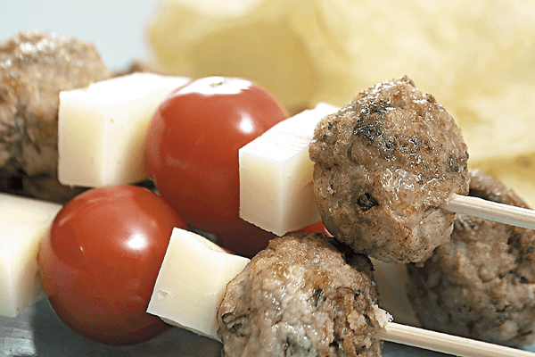 Skewers with Meatballs, Cherry Tomatoes and Epiros Logadi